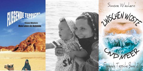 Simone Wiechern – Ein Leben als Beduinin Geplant war ein Auslandssemester, doch als Simone Wiechern, die damals Arabistik studierte, sich von ihrem letzten Geld ein Kamel kaufte, stand für sie fest, dass der Aufenthalt sich verlängern würde. Doch fangen wir dort an, wo in Simone Wiechern die erste Sehnsucht erwachte. Im Sommer 1991 bereiste sie mit einigen Freunden Ägypten und im Anschluss daran die Halbinsel Sinai. Menschenleere Strände, Palmen, die im seichten Wind wehten und ein strahlend blaues Meer zogen sie sofort in ihren Bann. Ägypten, Beduinen, Deutschland, Gladbeck, fliegende Teppiche, Literatur, Lesung, Romane, Simone Wiechern, Sinai, Zwischen Wüste und Meer
