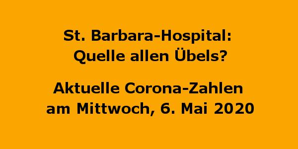 """St. Barbara-Hospital: Quelle allen Übels? Aktuelle Corona-Zahlen am Mittwoch, 6. Mai 2020 Zwei neue Infizierte, 67 % wieder gesund, ein weiterer Topdesfall. Mittwoch, 06.05.2020: Gladbeck 181 / 122 / + 18 Kreis RE: 1.111 / 894 / + 28 Dienstag, 05.05.2020: Gladbeck 179 / 118 / + 17 Kreis RE: 1.100 / 876 / + 27 Nun hat der Landrat des Kreises Recklinghausen endlich die Karten auf den Tisch gelegt - doch einige muß er noch im Ärmel vergessen haben. Nachdem der SPD-Landrat aus Kreisen der CDU ordentlich Druck bekam und auch Gladbecks Bürgermeister seinen Parteikollegen aufforderte endlich """"Butter bei die Fische"""" zu tun, beendete Landrat Süberkrüp nun seine Geheimniskrämerei um die Corona-Epidemie in seinem Landkreis - doch nur mangelhaft. Schon vor mehr als drei Wochen hatte die GlaZette mehr Transparenz angemahnt. Informationen, wie sie z.B. in Essen oder im Kreis Borken selbstverständlich waren, wurden im Kreis RE verschwiegen. Seine Strategie des Verschweigens hat Süberkrüp bis heute nicht beendet. Ohne die Fraktionen des Kreistages vorab zu informieren gab er am Dienstag im Kreishaus in einer Pressekonferenz einige bisher verschwiegene Fakten preis: o Ein Senior, der im Barbara-Hospital behandelt wurde, hat bei seiner Rückverlegung ins Pflegeheim Curo (am Citycenter) das Virus mit in die Seniorenbeinrichtung getragen. o Im Barbara-Hospital sind inzwischen 55 MitarbeiterInnen positiv getestet worden. o Ein Teil der MitarbeiterInnen lebe in einem Wohnheim in Gemeinschaftsunterkünften. o Rund 40 BewohnerInnen und MitarbeiterInnen des Cura-Seniorenheims sind infiziert. o In zwei weiteren Senioreneinrichtungen in Gladbeck gab es Infizierungen und Tote. Das ist ja an Informationen schön und gut, doch überhaupt nicht ausreichend! Die Infektionsketten wurden nicht offengelegt. Keine Angaben darüber, wie viele Menschen getestet wurden und bei wie vielen der Test negativ verlief. Wie viele Menschen sind und waren in Quarantäne? Wurde versucht, die Infektionsketten außerhalb d"""