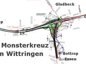 Autobahnkreuz mit 18 Fahrbahnen auf drei Ebenen