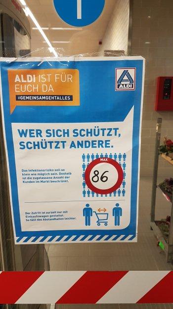 86 Kunden dürfen in den ALDI-Laden