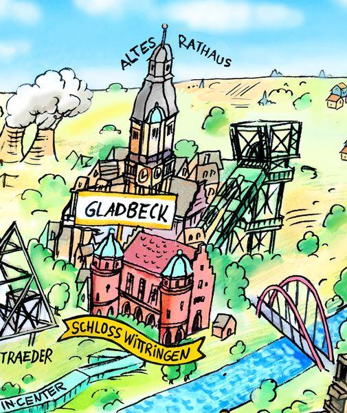 Ausschnitt aus dem Ruhrgebietspanorama mit Gladbecker Motiven